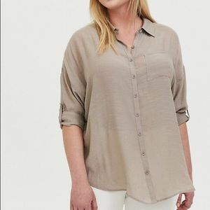 TORRID Gauze Drop Shoulder Button Front Tunic